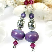 Purple Lampwork Amethyst Earrings Fuschia Crystal Sterling Silver OOAK