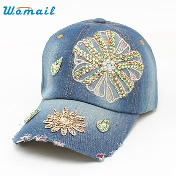 Womail Good Deal  Fashion New Fashion Women High Quality Hip-Hop Baseball Cap Full Rhinestones Flat Snapback Hat  Gift 1PC#
