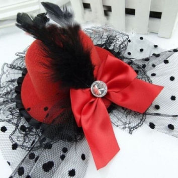 Bowknot Hair Clip Lace Feather Mini Top Hat Fancy Party Women Decoration New Party Small Fur Hat Flower Yarn Hairpins