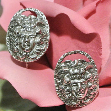 Antique Earrings Late 1800's European 800 Screw Back Stud Art Nouveau Female Face Repousse Earrings German Italian Estate Heirloom Jewelry