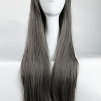 "S-noilite 32"" Long Full Head Dark Gray Side Bang Wig Anime Cosplay/Costume Party Fancy Dress Select for American Lady"