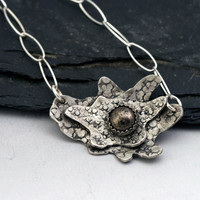 Abstract Flower Necklace - Pyrite and Oxidized Sterling Silver