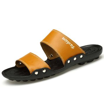 extra large size 37-47 mens sandals youth gents outside man genuine leather flip flops male beach slides plus size US5.5-12.5