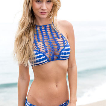 womens blue lace bikini set summer swimsuit