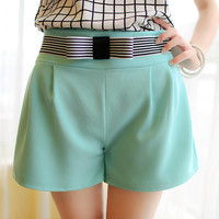 Water Blue Bow-knot High-Waisted Shorts