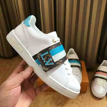 LV Louis Vuitton women's shoes White shoes Frontrow sports shoes 18 new old flowers Velcro white shoes B-ALS-XZ Blue