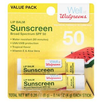 Walgreens Lip Balm SPF 50 Sunscreen 2-Pack