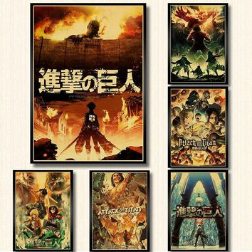 Cool Attack on Titan  Posters Japanese Anime kraft Paper Prints Clear Image room Bar Home Art painting wall sticker AT_90_11