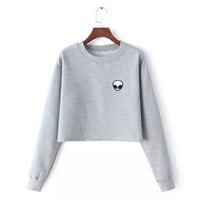 2 colors Spring Autumn Women's Aliens Long Sleeve Exposed navel Crop Tops Sweater women's clothing Fashion Gift