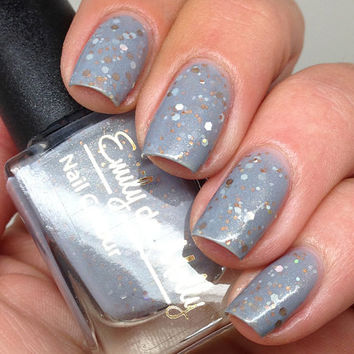 """Nail polish - """"Pyrite"""" bronze, gold and silver glitter in a grey base"""