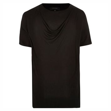 Double Layer Drape Neck T-Shirt