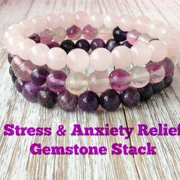 Stress & Anxiety Relief Gemstone Bracelet Stack, Anxiety Bracelet, Anxiety Jewelry, Healing Crystals, Wonderful for Stress Relief + Anxiety