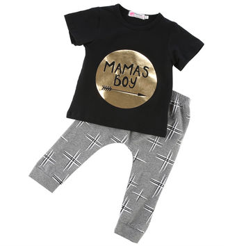 Summer 2016 2pcs Newborn Infant Baby Boys Kid Clothes T-shirt Tops + Pants Outfits Sets 0-24  Children's Clothing Set
