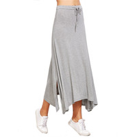 Women Drawstring Asymmetrical Long Skirt