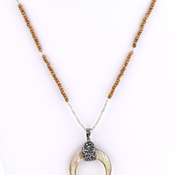 MOP Horn Pendant Long Necklace