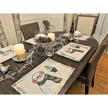 DaDa Bedding Set of 8 Pieces Magical Snowman Holiday Table Tapestry - 4 Placemats, 2 Table Runners, 2 Throw Pillow Covers (9733)