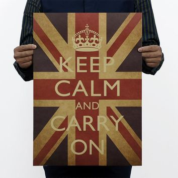home decals wall stickers popular quote Keep Calm Carry On before British world war 2 mobilization adornment vintage poster