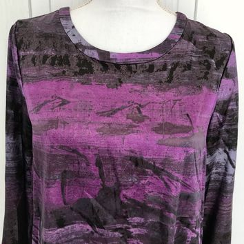 Simply Vera Wang Purple Print Blouse, Size 8