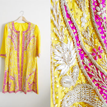 Topical Sunrise - Vintage Beaded Silk Sari Jacket Kimono