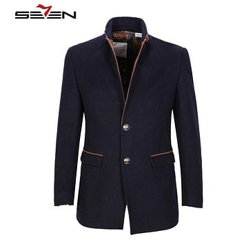 Wool Coat Men Classic Winter Pea coat Long Male Coats Jackets Fashion Slim Fit Warm Overcoat Outerwear