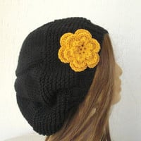 Hand Knit Hat- Slouchy Hat   in  Black  with mustard flower -   womens hat  Slouch  Winter Accessories Christmas Gift -beret fall knitted