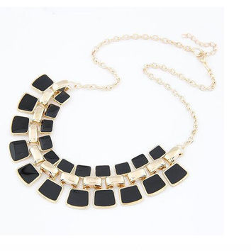 Necklaces Pendants Link Chain Collar Long Plated Enamel Statement Bling Necklace Women Jewelry Max Necklace XY-N104