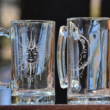Celestial Sun & Moon etched mugs (PAIR)