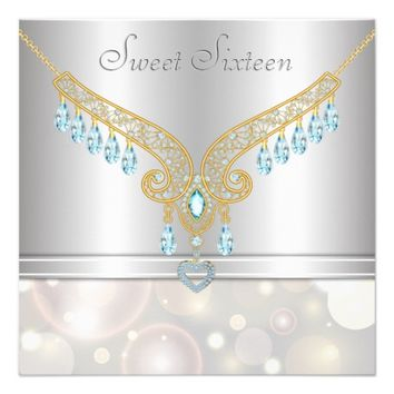 Aquamarine Diamonds Champagne Bokeh Sweet Sixteen