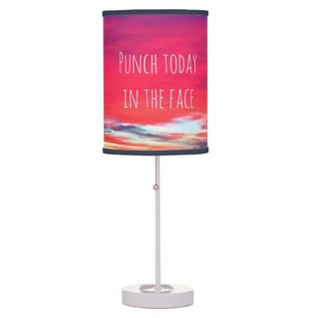 """Punch"" quote hot pink sunrise photo table lamp"