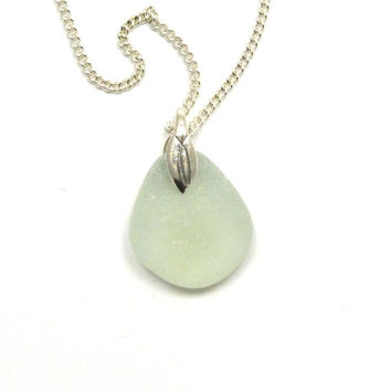 Sea Glass Necklace Pendant, Seafoam Sea Glass, NERISSA, Beach Jewelry, Beach Glass Jewelry
