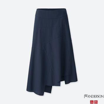 WOMEN JWA Seersucker Long Flare Skirt