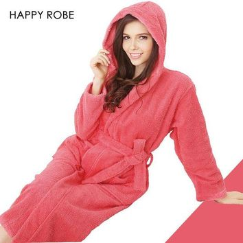 DCCKFV3 Hooded Toweled bathrobes cotton robe lady women robe autumn and winter waste-absorbing thick soft bathrobe