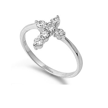 925 Sterling Silver CZ Cross Ring 12MM