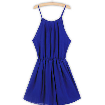 Blue Spaghetti Strap Waist Dress