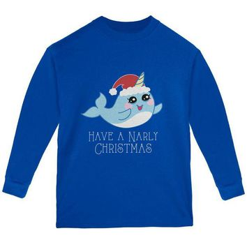 DCCKJY1 Narwhal Have a Narly Gnarly Christmas Youth Long Sleeve T Shirt