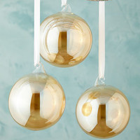 Jim Marvin Amber Clear Glass Ball Christmas Ornament, Set of 3