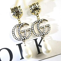 GUCCI Stylish Women Retro Leopard Head GG Letter Pearl Pendant Earrings Accessories Jewelry