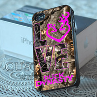 Love Browning Deer Duck Dynasty Camo - Rubber or Plastic Print Custom - iPhone 4/4s, 5 - Samsung S3 i9300, S4 i9500 - iPod 4, 5