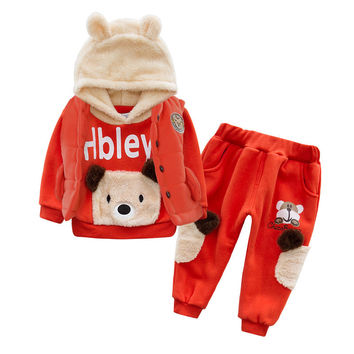 Anlencool Baby boys New Teddy Bear new winter coat cotton three-piece baby clothes set in winter baby boys clothing