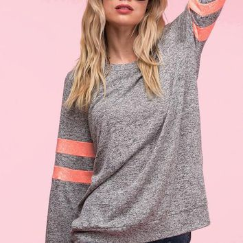 Neon Stripes Sweatshirt - Heather Gray