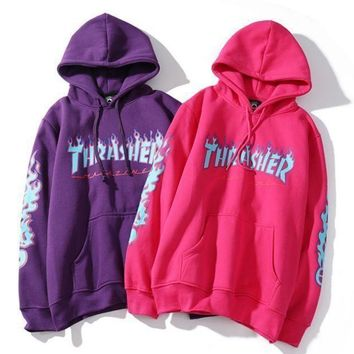 Thrasher Fashion Flame Print Long Sleeve Hooded Top Pullover Sweater Hoodie