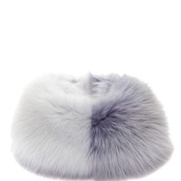 Gray And White Fox Fur Cowl by Harbison for Preorder on Moda Operandi