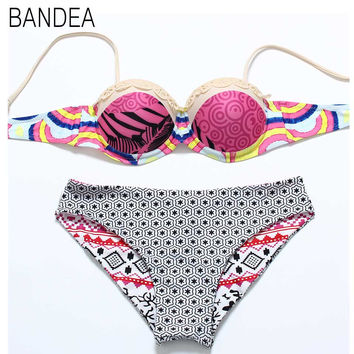 BANDEA Sexy Floral Print Halter Straps tie dye Bikini Set with Padded Push up Swimwear for Women Biquini Bathing Suit 2016 New