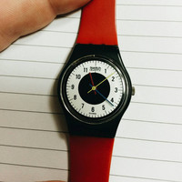 Rare Vintage 80s Swatch Watch- Red + Black +White + Yellow + Blue Swiss Swatch Watch