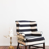 Large Upholstered Black and White Striped Chair
