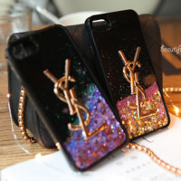 YSL quicksand Shining iPhone Phone Cover Case For iphone 6 6s 6plus 6s-plus 7 7plus