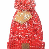 NEW Womens RED Beanie Hat Knit Winter Hat Cuffed Hat Cap With Snowflake Patch
