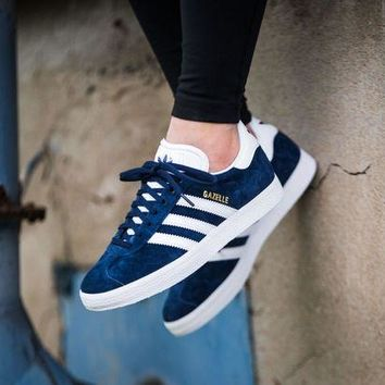 LMFUX5 Best Online Adidas Originals Wmns Gazelle Blue / White / Gold Metallic Sneakers Classic Casual Shoes - S76227