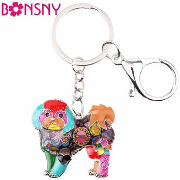 Bonsny Enamel Yorkie Yorkshire Dog Key Chain Key Ring Gift For Women Girl Bag 2017 New Charm Shih Tzu Key chain Pendant Jewelry
