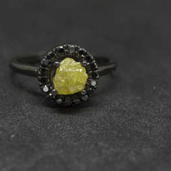 Black is the new black! 14K black Gold ring with 2.01 carats raw natural rough diamond and 0.18 carats polished black diamond